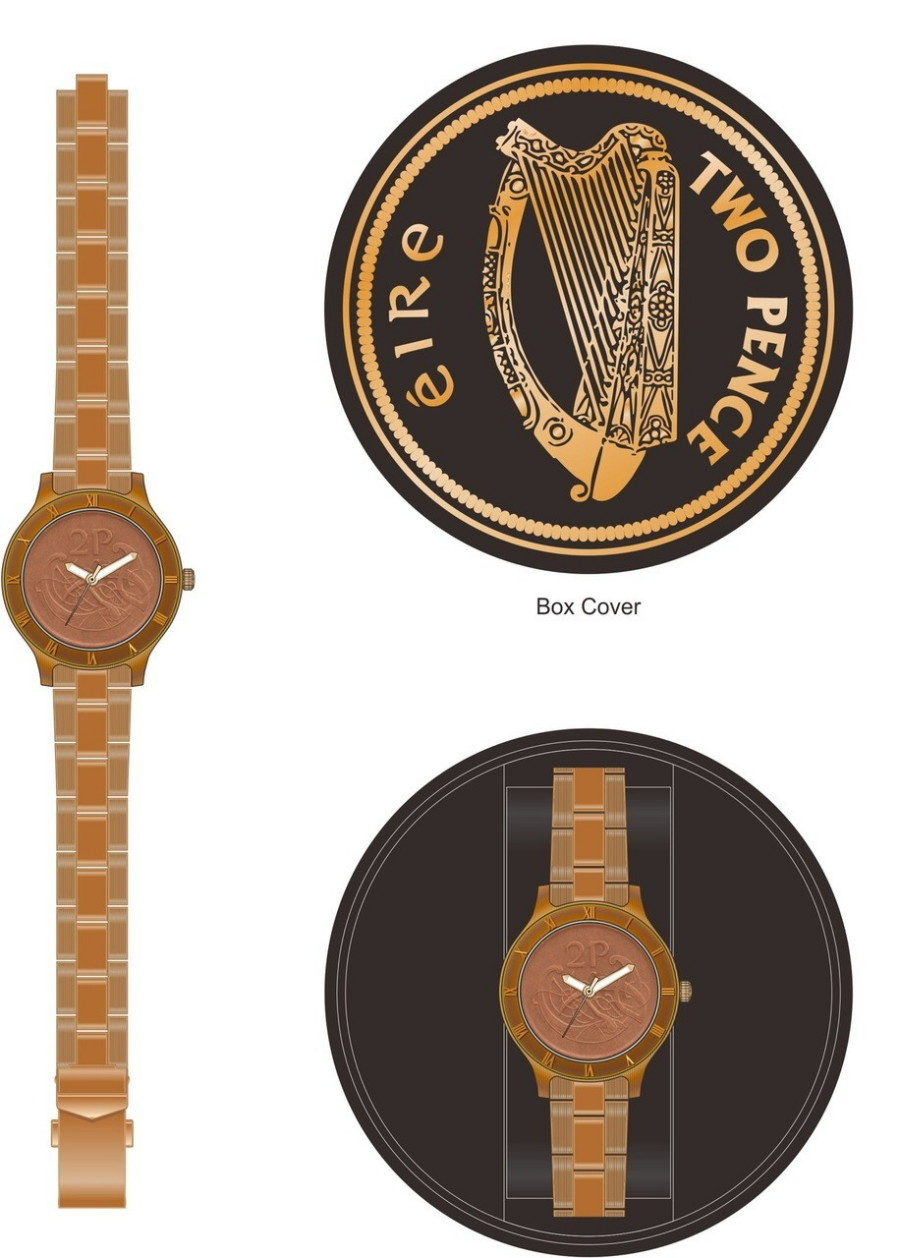 Irish Two Pence Gents Watch - Brushed Copper - New