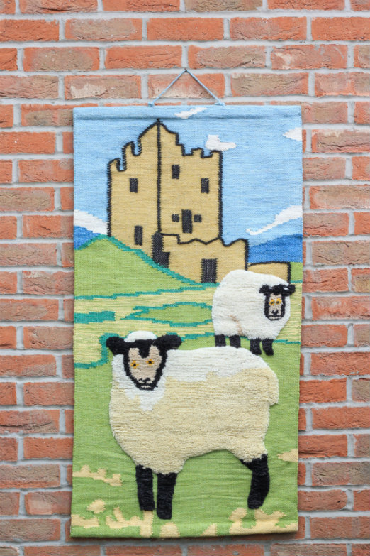 Sheep and Castle Hand-made Jute Tapestry Wall Hanging